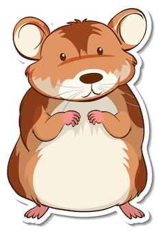 Een stickersjabloon met een stripfiguur van een hamster geïsoleerd