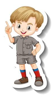 Een stickersjabloon met een stripfiguur van een jongen in safari-outfit