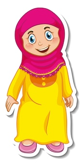 Een stickersjabloon met een stripfiguur van een moslimmeisje