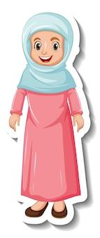 Een stickersjabloon met een stripfiguur van een moslimvrouw