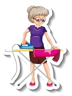 Een stickersjabloon met een stripfiguur van een oude vrouw die een overhemd strijkt