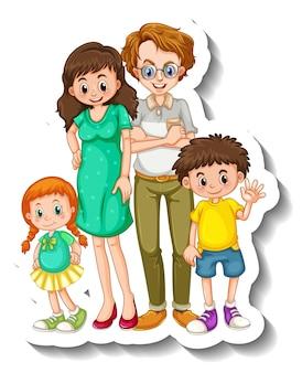 Een stickersjabloon met een stripfiguur van kleine familieleden
