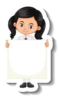 Een stickersjabloon met een studente die een leeg bord vasthoudt
