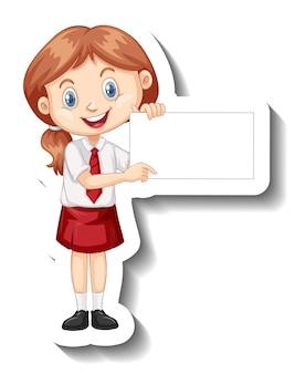 Een stickersjabloon met een studentmeisje dat een leeg bord vasthoudt