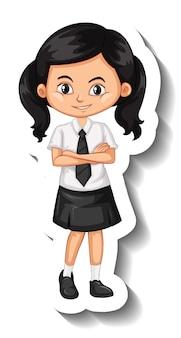 Een stickersjabloon met een studentmeisje in schooluniform