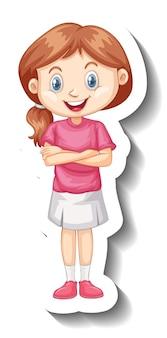 Een stickersjabloon met een studentmeisje in sportuniform