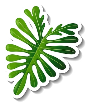 Een stickersjabloon met een tropisch blad geïsoleerd