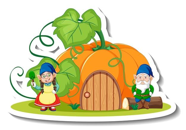 Een stickersjabloon met een tuinkabouter of dwergtekenfilm