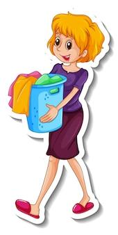 Een stickersjabloon met een vrouw die een kledingmand vasthoudt