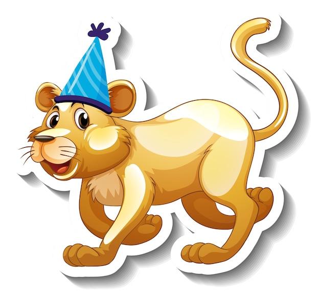 Een stickersjabloon met een vrouwelijke leeuw die een feesthoed draagt Gratis Vector