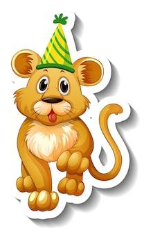 Een stickersjabloon met een vrouwelijke leeuw die een feesthoed draagt