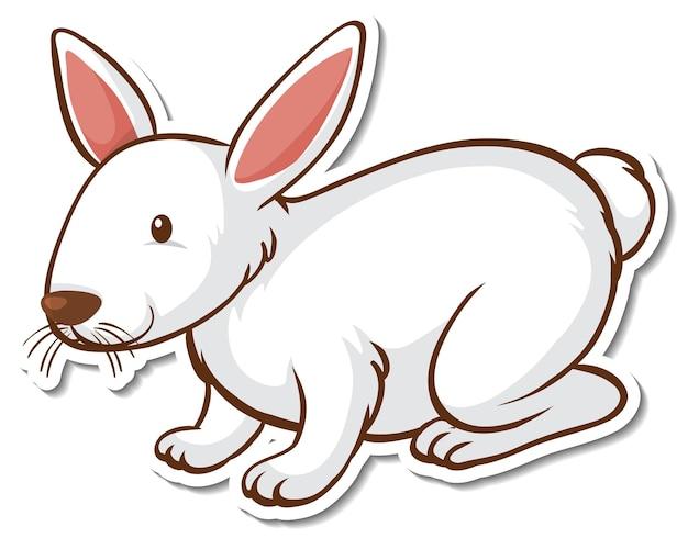 Een stickersjabloon met een wit konijn geïsoleerd