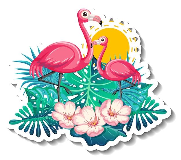 Een stickersjabloon met flamingo's in zomerthema