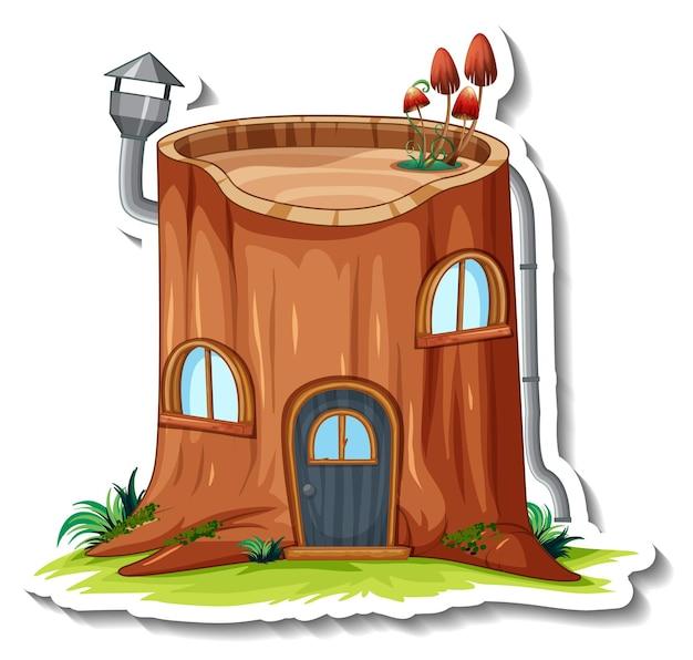 Een stickersjabloon met geïsoleerd fantasieblokhuis