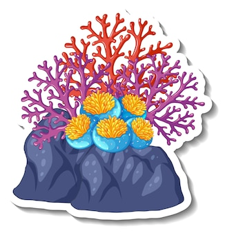 Een stickersjabloon met geïsoleerd koraalzee-element