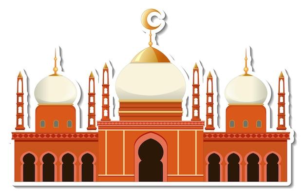Een stickersjabloon met geïsoleerd moskeegebouw