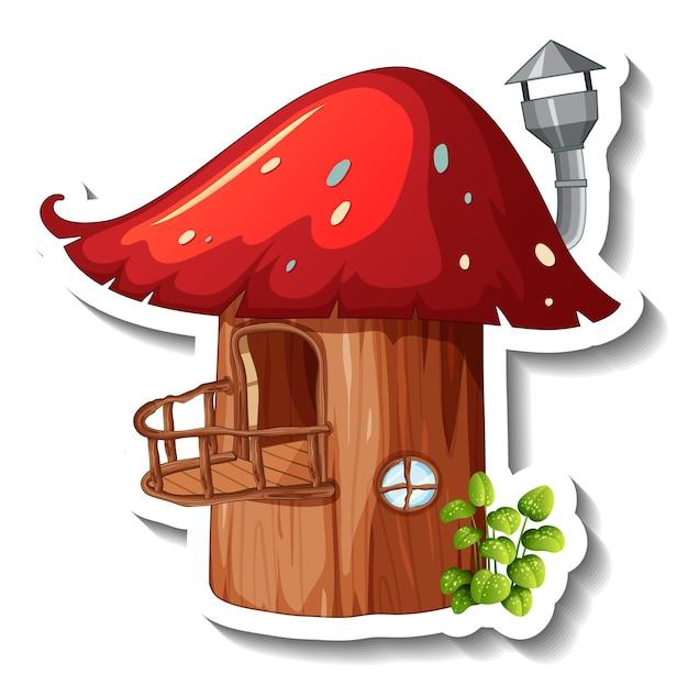 Een stickersjabloon met geïsoleerd paddenstoelenhuis
