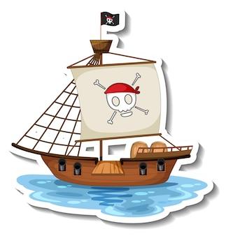Een stickersjabloon met geïsoleerd piratenschip