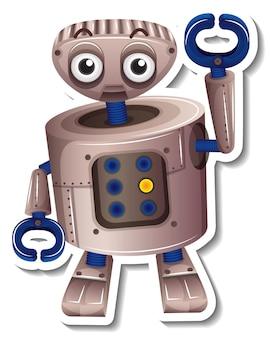 Een stickersjabloon met geïsoleerd robot speelgoed stripfiguur