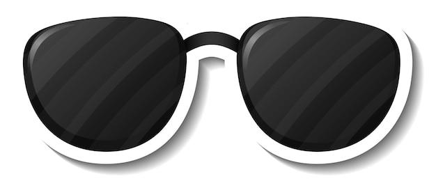 Een stickersjabloon met geïsoleerde brillenzonnebril