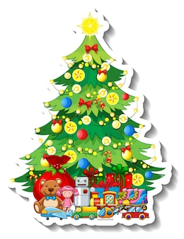 Een stickersjabloon met geïsoleerde kerstboom