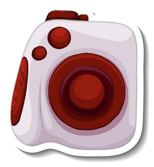 Een stickersjabloon met geïsoleerde polaroidcamera