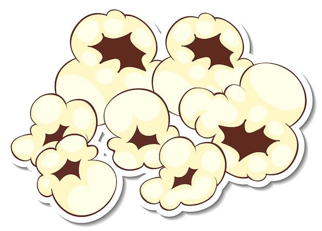 Een stickersjabloon met geïsoleerde popcorn