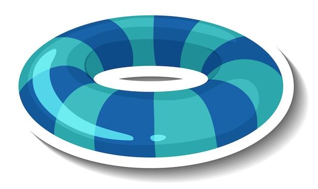 Een stickersjabloon met gestreepte blauwe zwemring