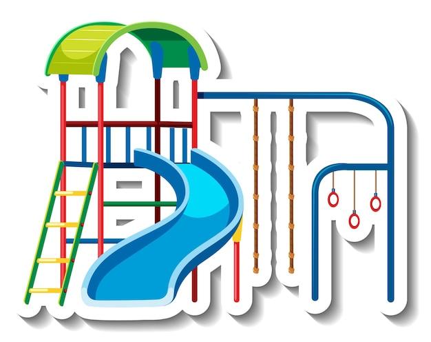 Een stickersjabloon met glijbaan en bar speeltoestellen