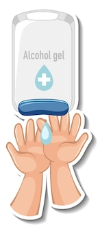 Een stickersjabloon met handen die geïsoleerde alcoholgel gebruiken