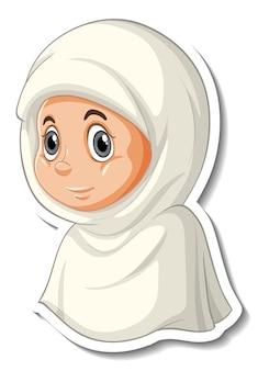 Een stickersjabloon met het portret van een stripfiguur van een moslimmeisje