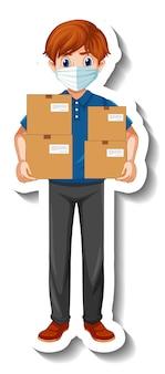 Een stickersjabloon met koeriersman in uniforme dozen