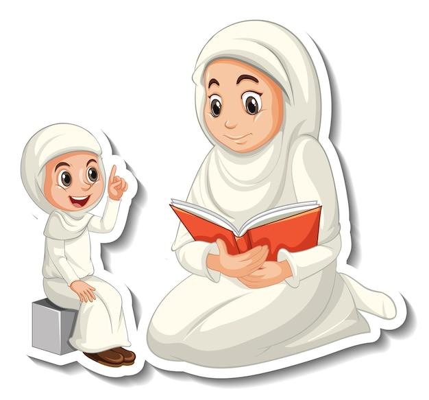 Een stickersjabloon met moeder en dochter van moslimmensen