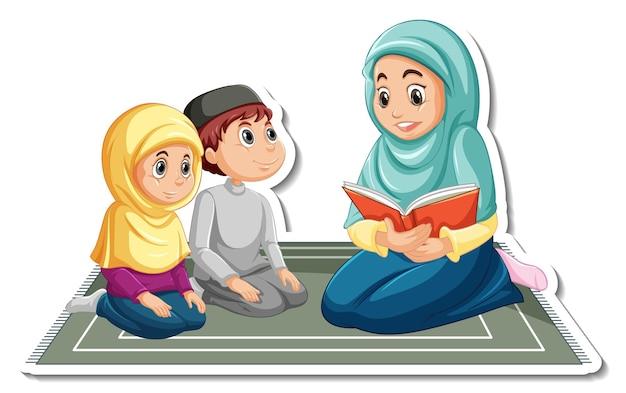 Een stickersjabloon met moslimmensen die een boek voorlezen aan haar kinderen