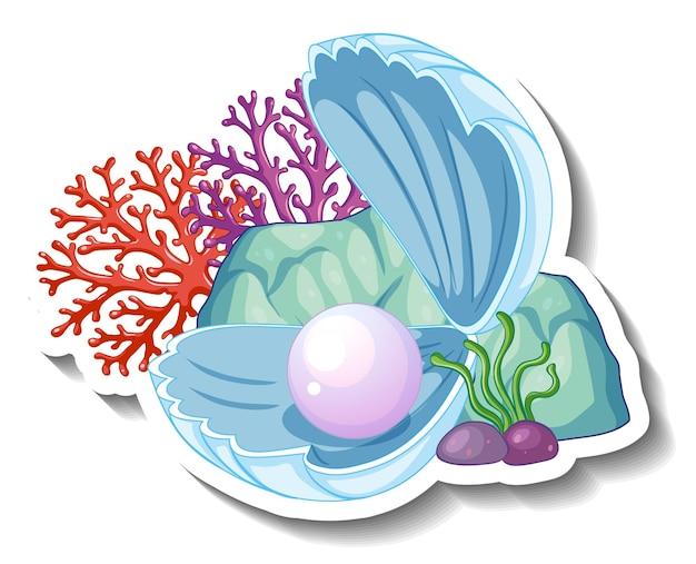 Een stickersjabloon met pearl in shell geïsoleerd