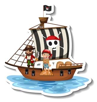 Een stickersjabloon met piraten op het schip geïsoleerd