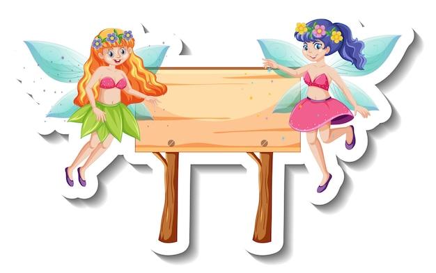 Een stickersjabloon met prachtige feeën en houten bord