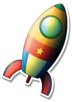 Een stickersjabloon met rocket space cartoon geïsoleerd