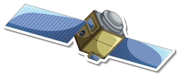Een stickersjabloon met satelliet in cartoonstijl