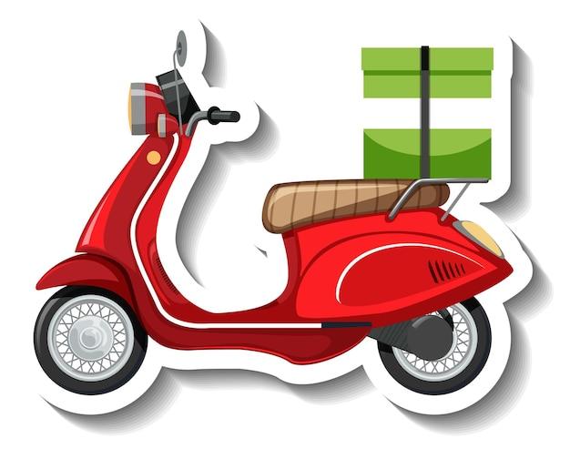 Een stickersjabloon met scooter voor het bezorgen van eten