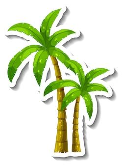 Een stickersjabloon met tropische palmboom geïsoleerd