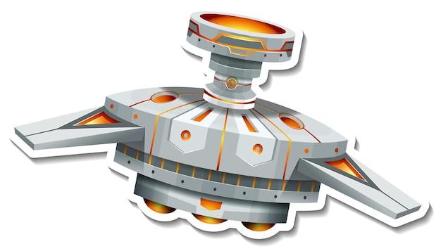 Een stickersjabloon met ufo of satelliet geïsoleerd