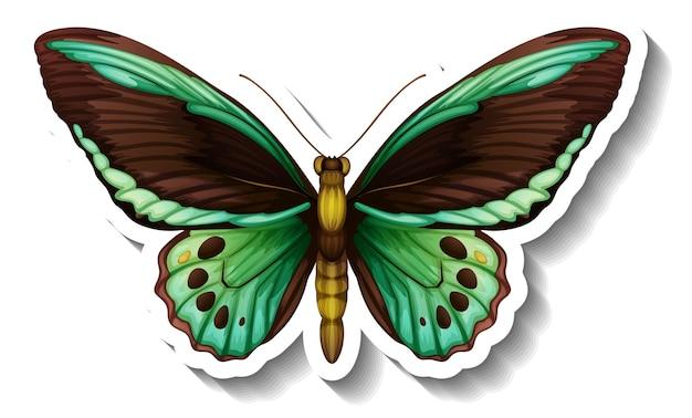 Een stickersjabloon met vlinder of mot geïsoleerd