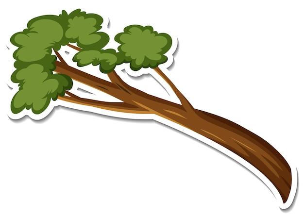 Een stickersjabloon van een boomtakcartoon