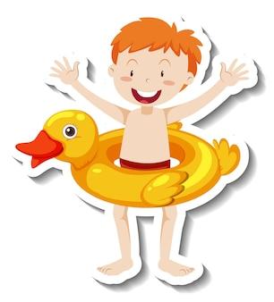 Een stickersjabloon van een jongen met zwemring van een eend