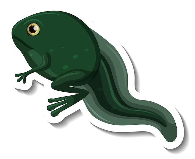 Een stickersjabloon van een kikkervisje met twee geïsoleerde poten