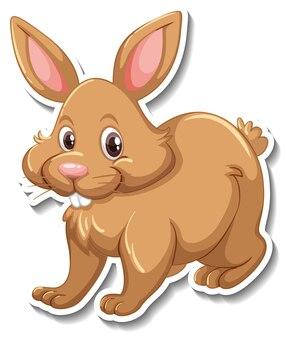 Een stickersjabloon van een konijn stripfiguur
