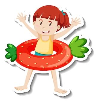 Een stickersjabloon van een meisje met een aardbeienzwemring