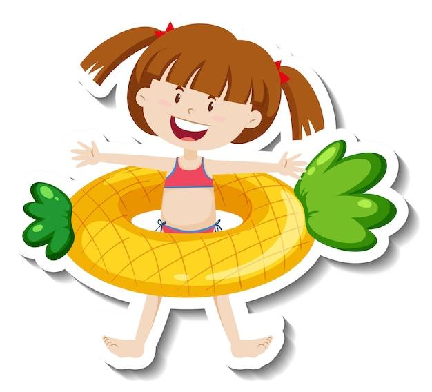 Een stickersjabloon van een meisje met een ananaszwemring