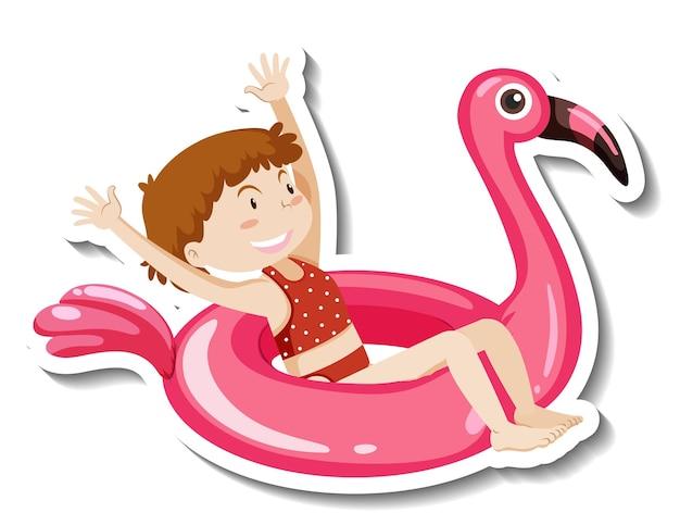 Een stickersjabloon van een meisje met een flamingo-zwemring